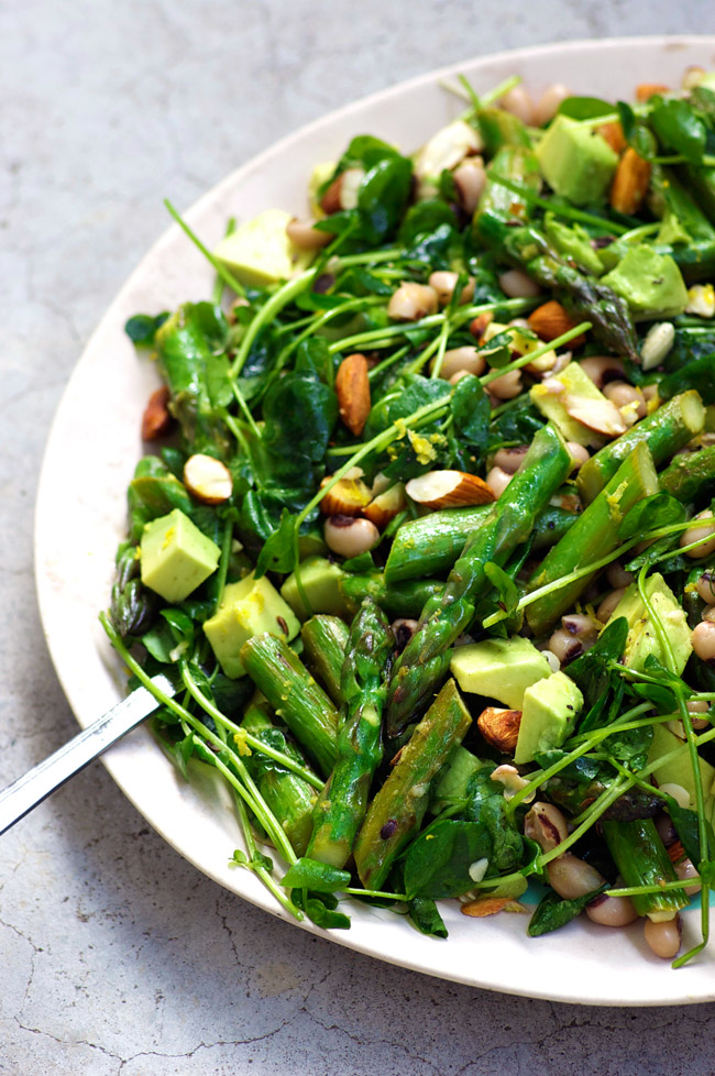 Asparagus Salad with avocado, beans and pea shoots. A recipe by ...